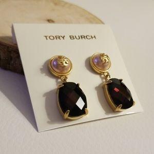 Tory Burch pearl stone drop earrings